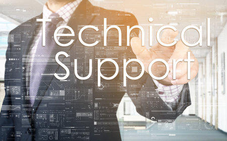 specialize: the businessman is choosing Technical Support from touch screen