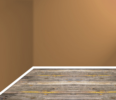 empty interior with wooden floor brown wall