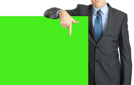 portrait of business man presenting a big banner, green screen