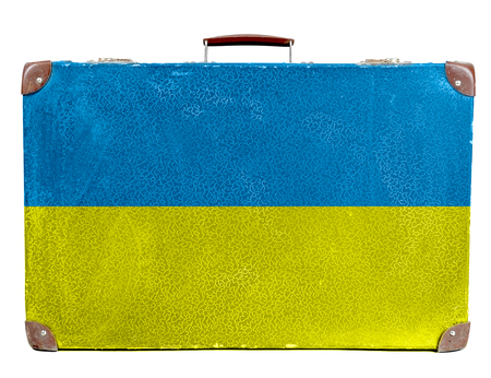 Vintage travel bag with flag of Ukraine