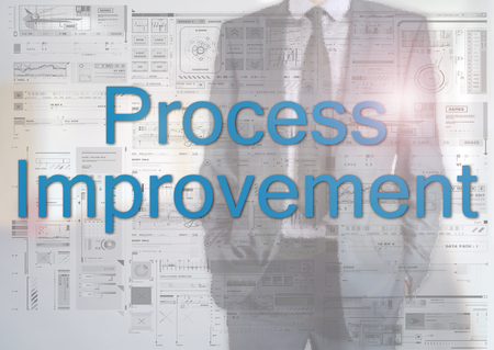 reciprocity: Businessman standing behind transparent board with diagrams and text Process Improvement