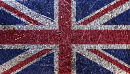 Grungy UK Flag on metallic background Stock Photo
