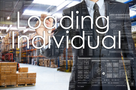 the businessman is writing things connected with the logistics in warehouse. Loading Individual 版權商用圖片 - 75830228