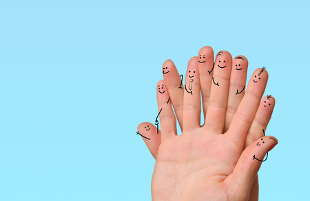 Happy group of finger smileys. Fingers representing a social network. 版權商用圖片 - 75830246