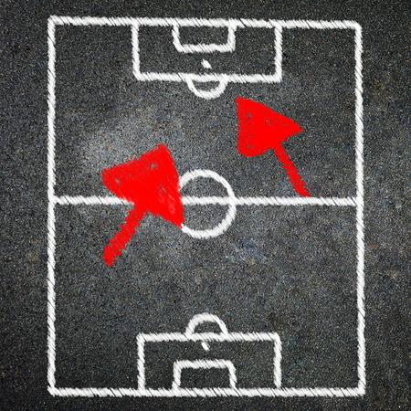 Soccer game on blackboard 版權商用圖片