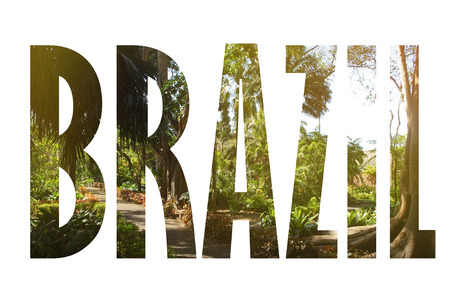 Background with word Brazil. Letters were made from backgrounds which are forming a relationship with the given place