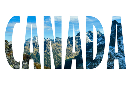 Background with word Canada. Letters were made from backgrounds which are forming a relationship with the given place 版權商用圖片