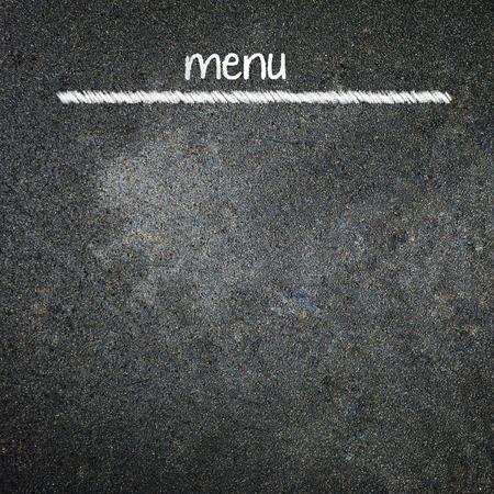 Menu title written with chalk on blackboard 版權商用圖片