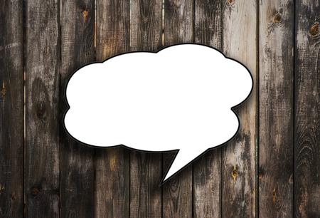 speech bubbles on wooden background 版權商用圖片