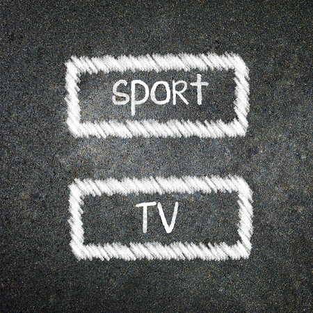 sport and tv option handwritten with white chalk on a blackboard.