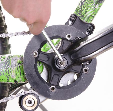 bicycle repair bicycle or preparing for the season, tightening the crank