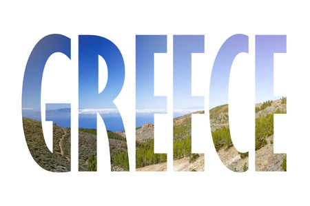 Background with word Greece. Letters were made from backgrounds which are forming a relationship with the given place 版權商用圖片