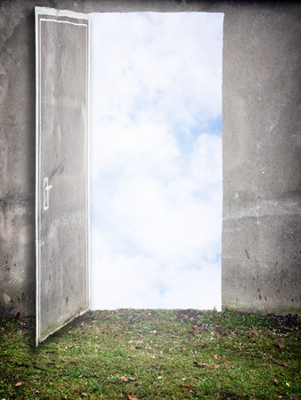 Open Door painted on the wall on green grass. Conceptual new way, entrance to new world, heaven, new job, new opporturnity