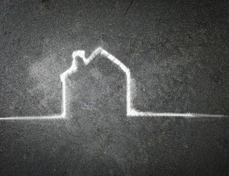 hand-drawn house on a chalkboard