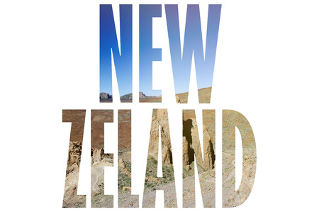Background with word New Zeland. Letters were made from backgrounds which are forming a relationship with the given place