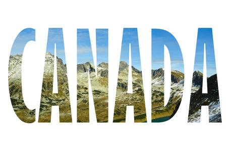 Background with word Canada. Letters were made from backgrounds which are forming a relationship with the given place Stock Photo