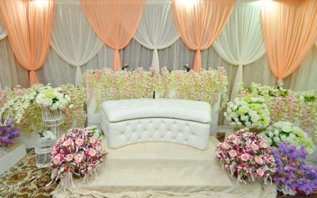 setup: simple and beautiful wedding stage for solemnization Stock Photo