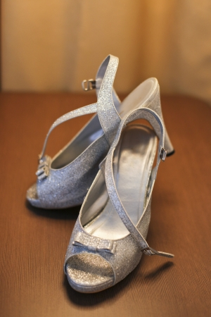 beautiful bride shoes for solemnization ceremony photo