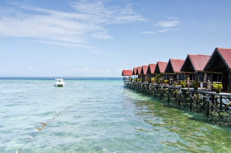 mabul: Mabul Island view Turquoise Tropical Paradise Borneo from floating resort. Editorial