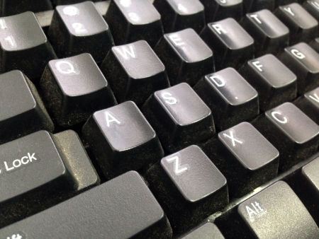 view: Side view of black keyboard