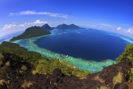 fish eye view from peak of bohey dulang hill at sempoerna sabah Stok Fotoğraf
