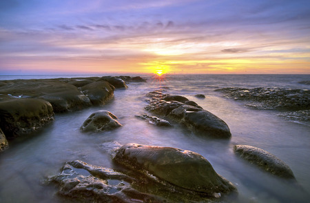 Pattern Of Rock During SunsetSunrise at Tip of Borneo,Sabah,Malaysia. photo