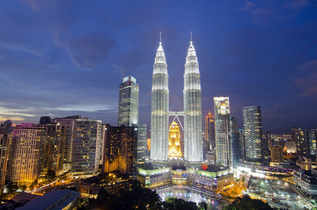 klcc: Panoramic view of Kuala Lumpur city during sunset. Noise slightly appear due to high iso was used