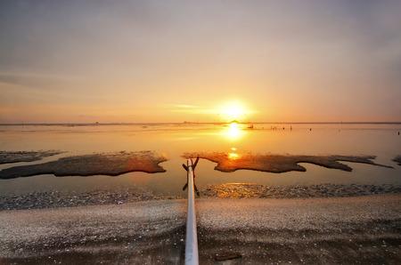 estuary: sunset over the Wash estuary mud flats at low tide