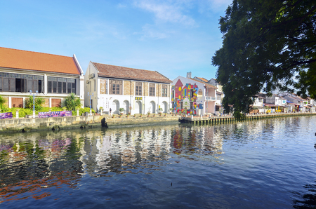 MELAKA, MALAYSIA - OCTOBER 29: Riverside on Oct 29, 2015 in Melaka, Malaysia. It is the old building on riverside Editorial