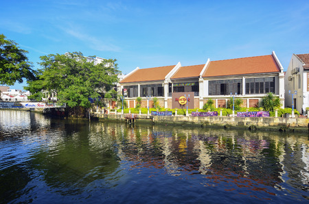 melacca: MELAKA, MALAYSIA - Hard Rock Care OCTOBER 29: Riverside on Oct 29, 2015 in Melaka, Malaysia. It is the old building on riverside