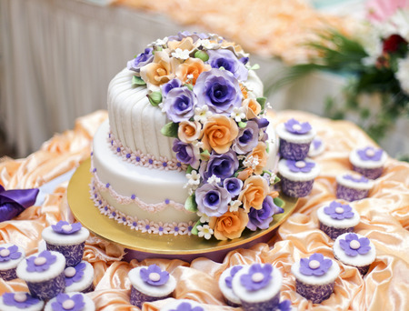 the most beautiful cake for solemnization event.shallow dof Stock Photo