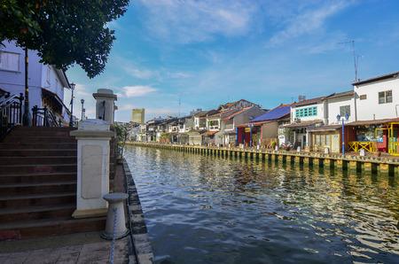 melacca: MELAKA, MALAYSIA - OCTOBER 29: Riverside on Oct 29, 2015 in Melaka, Malaysia. It is the old building on riverside Editorial