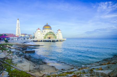 islamic scenery: Malacca Straits Mosque  Masjid Selat Melaka, It is a mosque located on the man-made Malacca Island near Malacca Town, Malaysia