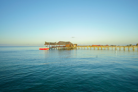 blue sky and green sea view from mabul island lodge.