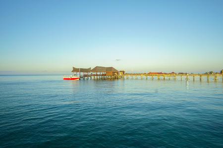 mabul: blue sky and green sea view from mabul island lodge.