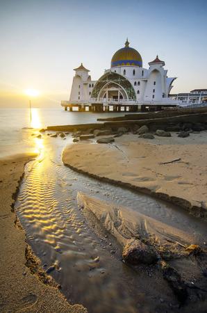 islamic scenery: Majestic view of beautiful Malacca Straits Mosque during sunset