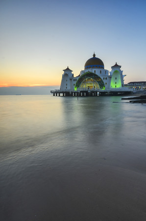 straits: Majestic view of Malacca Straits Mosque during sunset. Soft focus due to long exposure