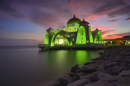 istanbul beach: Majestic view of Malacca Straits Mosque during sunset with vibrance colour. Noise slightly appear and soft focus due to long expsoure.