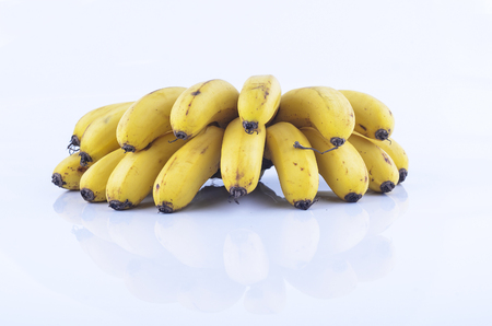 flesh colour: Bunch of bananas isolate on white background Stock Photo