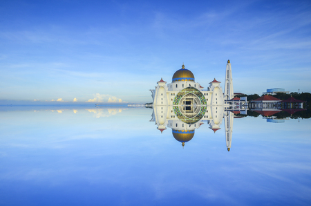 islamic scenery: Malacca Straits Mosque ( Masjid Selat Melaka), It is a mosque located on the man-made Malacca Island near Malacca Town, Malaysia