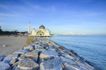 islamic scenery: Malacca Straits Mosque ( Masjid Selat Melaka), It is a mosque located on the man-made Malacca Island near Malacca Town, Malaysia