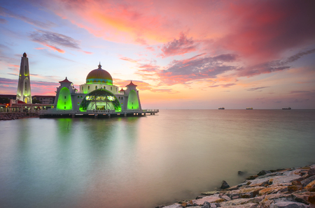 vibrance: Majestic view of Malacca Straits Mosque during sunset with vibrance colour. Noise slightly appear and soft focus due to long expsoure.
