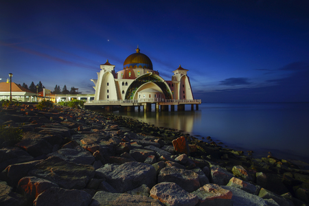 straits: Night and blue hour scene of beautiful Malacca Straits Moqsue