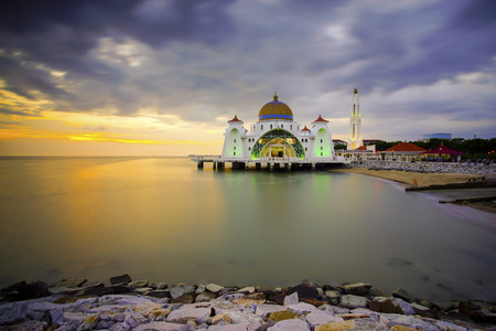 straits: Majestic view of Malacca Straits Mosque during beautiful sunset
