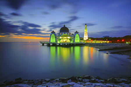 istanbul beach: Majestic view of Malacca Straits Mosque during sunset. Noise slightly appear due to long exposure