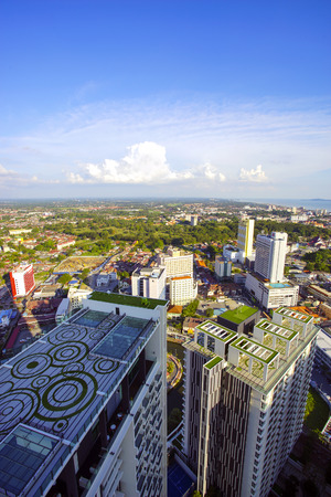 top 7: MALACCA, MALAYSIA - JAN 31, 2016 : Top view of beautiful Malacca town. Malacca has been listed as a UNESCO World Heritage Site since 7 July 2008.
