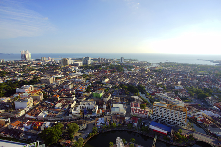 top of the world: MALACCA, MALAYSIA - JAN 31, 2016 : Top view of beautiful Malacca town. Malacca has been listed as a UNESCO World Heritage Site since 7 July 2008.