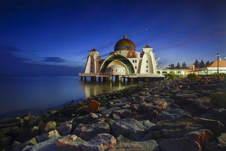 straits: Night and blue hour scene of beautiful Malacca Straits Moqsue