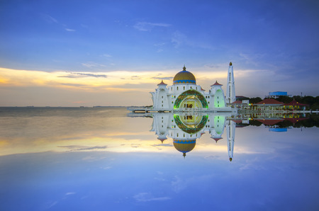 islamic scenery: Majestic view of Malacca Straits Mosque during sunset.