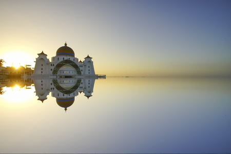 straits: Majestic view of Malacca Straits Mosque during sunset. With copyspace area Stock Photo